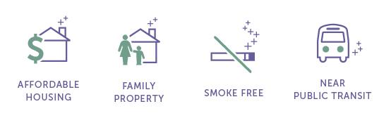 icons family, smoke free, affordable, near public transit